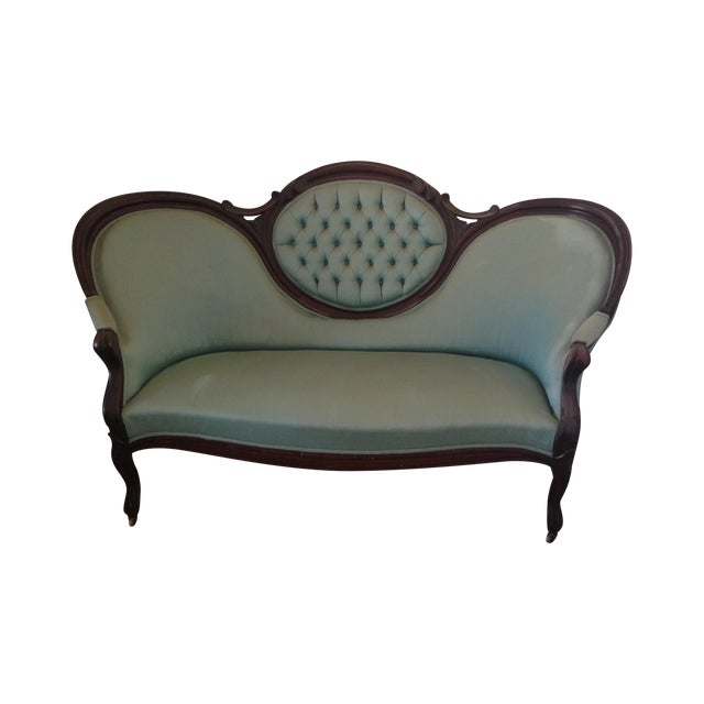 Image of Antique Victorian Tufted Walnut Settee