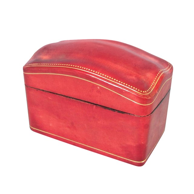 Italian Red Leather Card Box for 2 Decks - Image 1 of 6