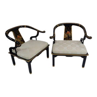 Century Black & Gold Chinoiserie Horseshoe Back Chairs - A Pair