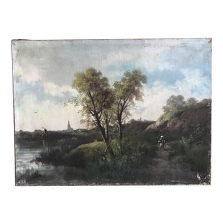 Vintage River Scene Oil Painting