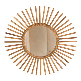 Vintage Tan Sunburst Mirror