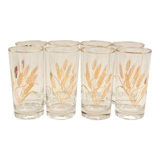 Golden Wheat Sheaf Drinking Glasses - Set of 8