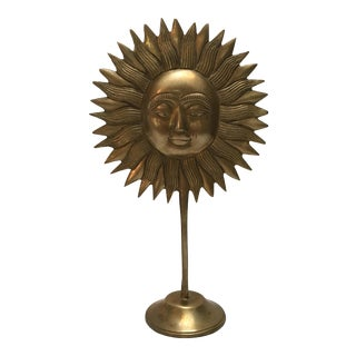 Vintage Brass Sun Statue