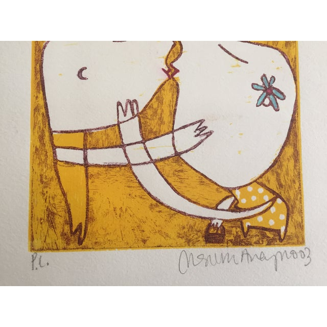 Original Yellow Monoprint by Marina Anaya - Image 4 of 10