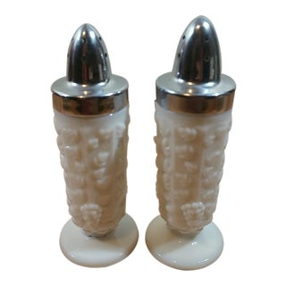 Milk Glass Paneled Grape Salt & Pepper Shakers - A Pair