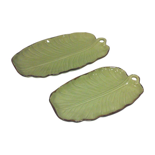 Image of Tropical Banana Leaf Ceramic Platters - A Pair