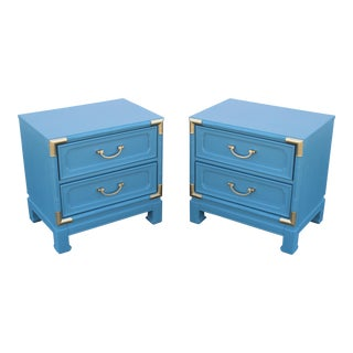 Mid-Century 2-Drawers Blue Nightstands - a Pair - Walnut Nightstands