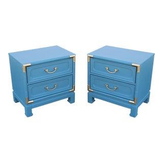 Mid-Century 2-Drawers Blue Nightstands - a Pair - Walnut Nightstands