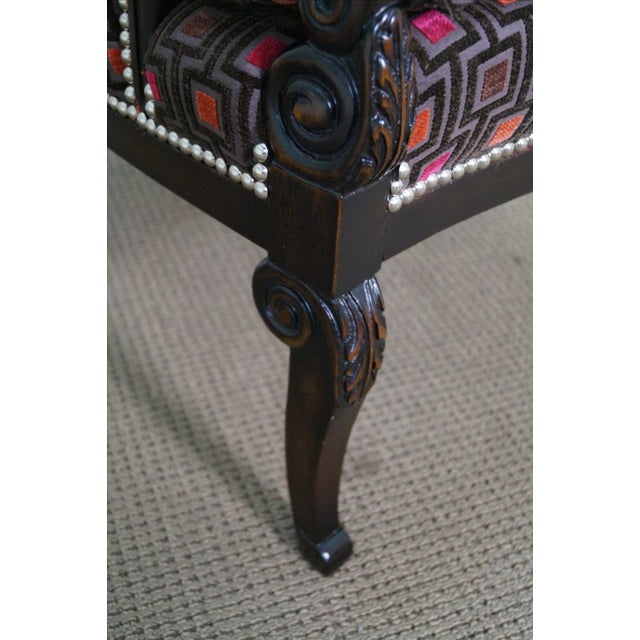 Carved Fire Side Barrel Back Wing Chairs - Pair - Image 7 of 10