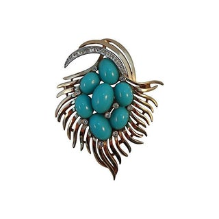 Trifari Faux Turquoise Couture Brooch Pin