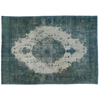 Distressed Turquoise Rug - 6′7″ × 9′3″