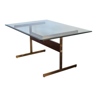 Milo Baughman Glass Table on Brass Pedestal Base