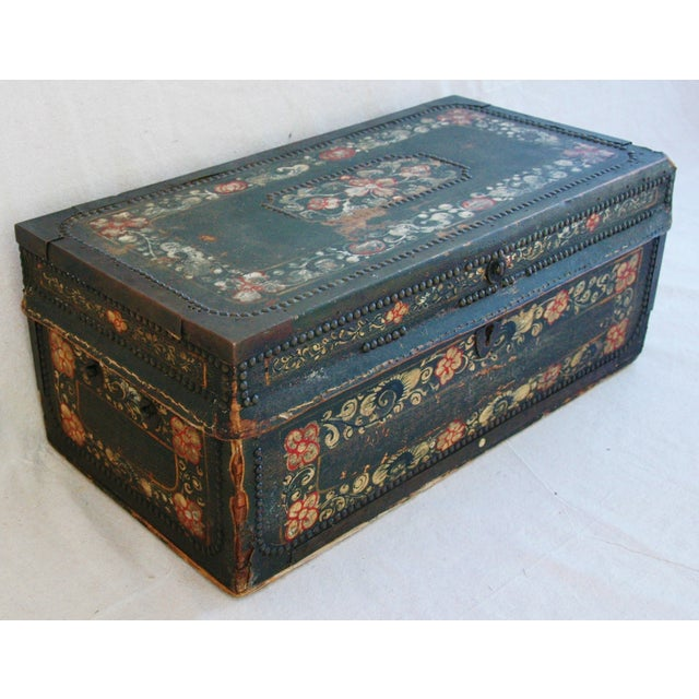 French 19th C. Hand Painted Leather Trunk - Image 4 of 10