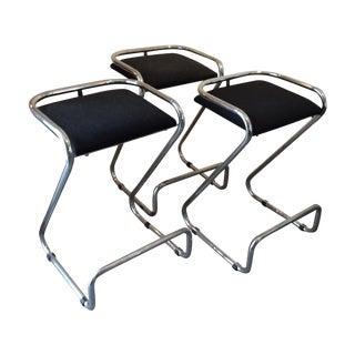 Modern Italian Mariani Chrome Z Stools - Set of 3