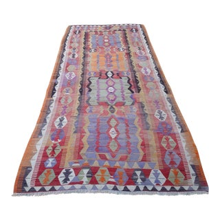Vintage Turkish Kilim Rug - 5′2″ × 12′6″