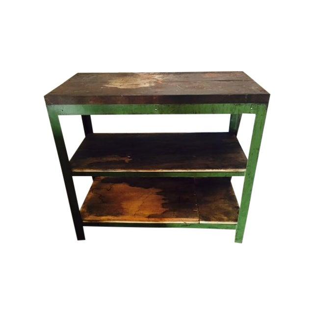 Vintage Steel and Wood Industrial Table - Image 1 of 6