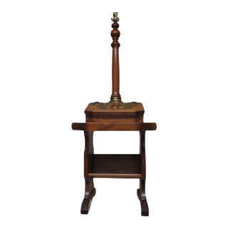 Solid Walnut Turned Wood Floor Lamp With Storage