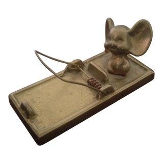 Vintage Brass Mouse & Mousetrap Figurine