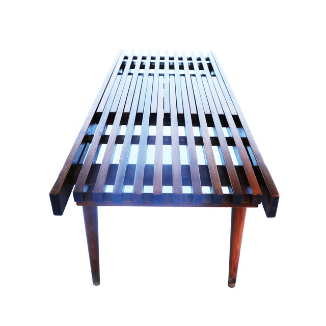 Nelson Herman Miller Style Slatted Wood Bench - Image 7 of 7