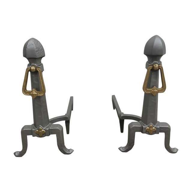 Image of Art Deco Style Andirons - Pair