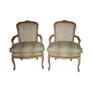 Animal Print French Style Cane Chairs - Pair