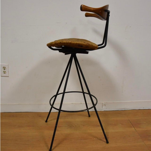 Image of Mid-Century Modern Teak & Iron Barstool