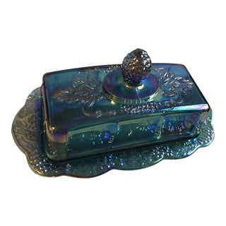 Indiana Blue Carnival Glass Harvest Grape Butter Dish