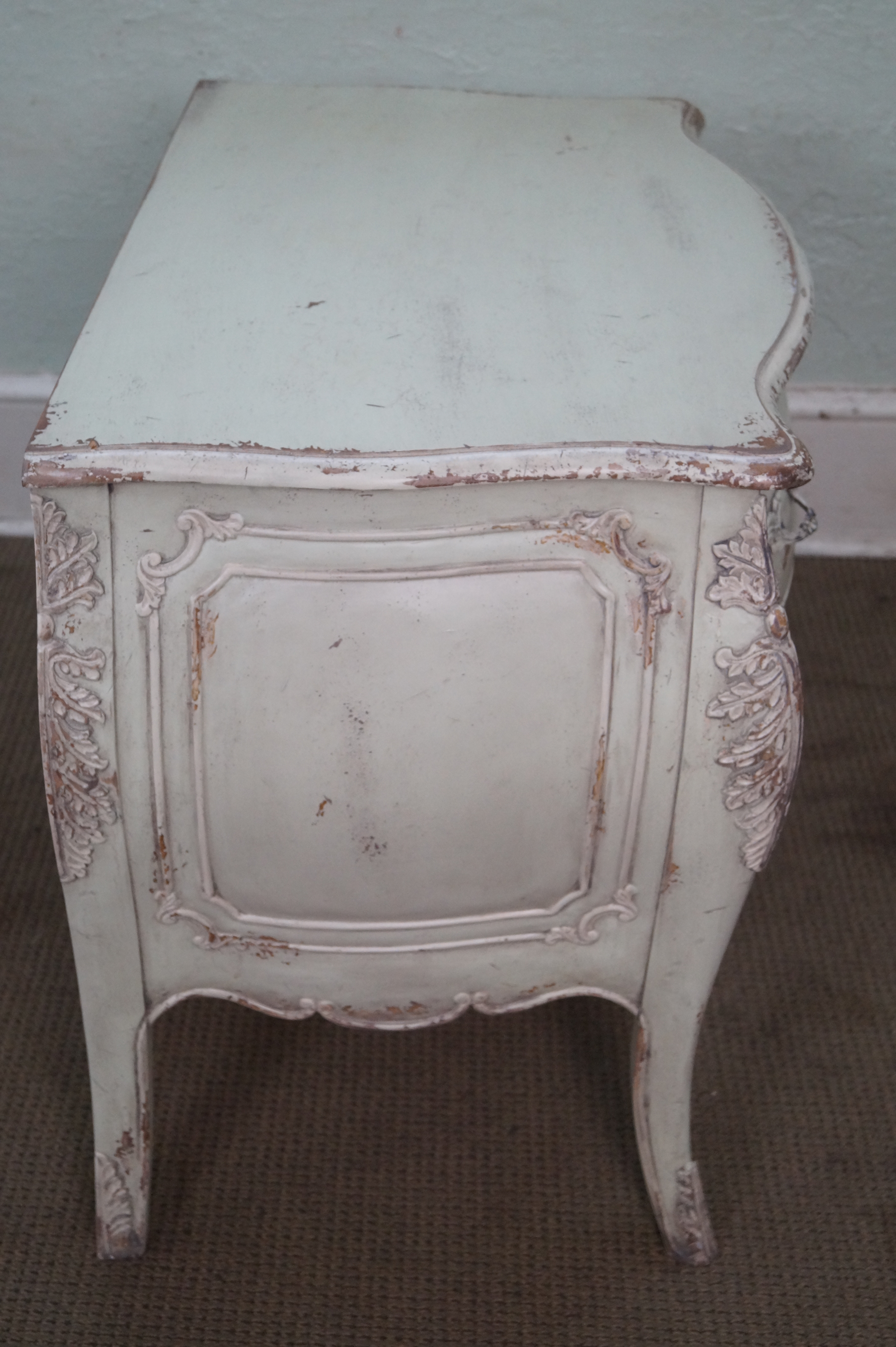 habersham distressed painted french louis xv style bombe chest image 3 of 10