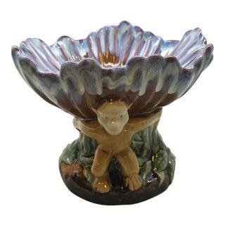 Monkey Pedestal Pottery Bowl