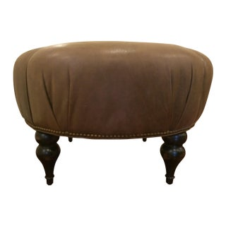 Distressed Brown Leather Ottoman