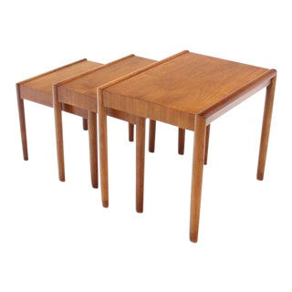 Set of Three Walnut Mid Century Modern Nesting Tables
