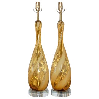 Italian Lamps in Gold with White Ribbon