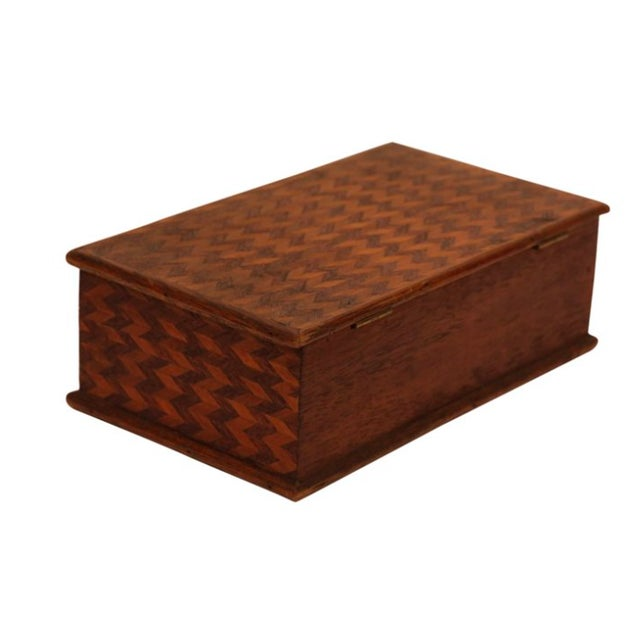 Folk Art Marquetry Zig Zag Box - Image 2 of 3