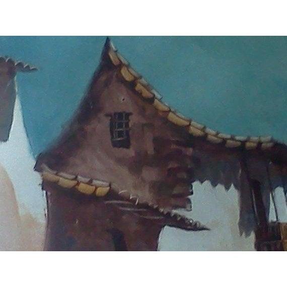 Vintage Peruvian Street Scene Oil Painting - Image 4 of 5