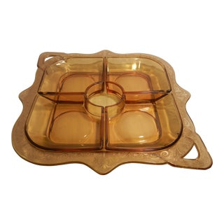 Art Deco Amber Glass 5 Piece Serving Tray