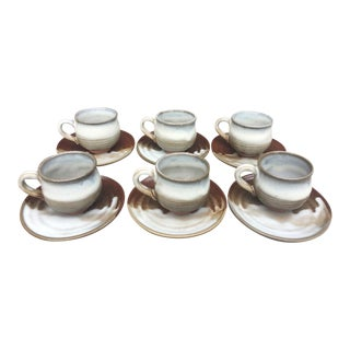 Japanese Pottery Tea Cups & Saucers - Set of 6
