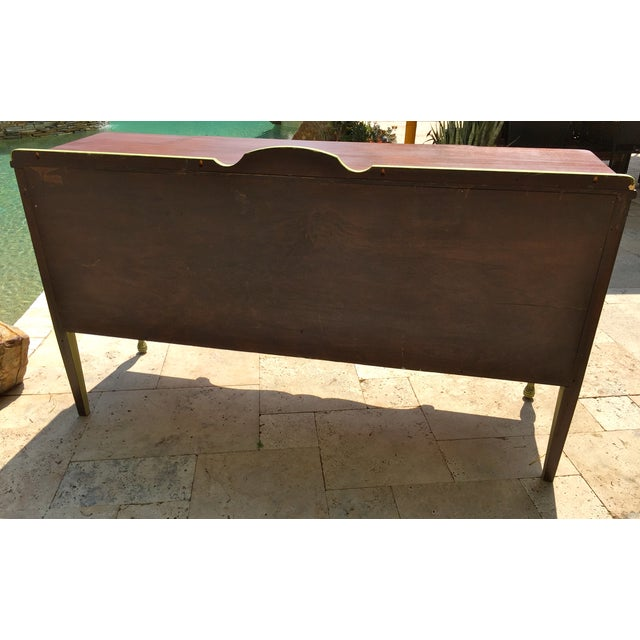 Image of Vintage Green Milk Paint Buffet Sideboard Credenza