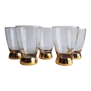 Mid-Century Gold Glasses, Set of 5