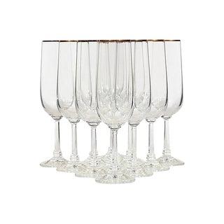 Gilt Rim Champagne Flutes - Set of 11