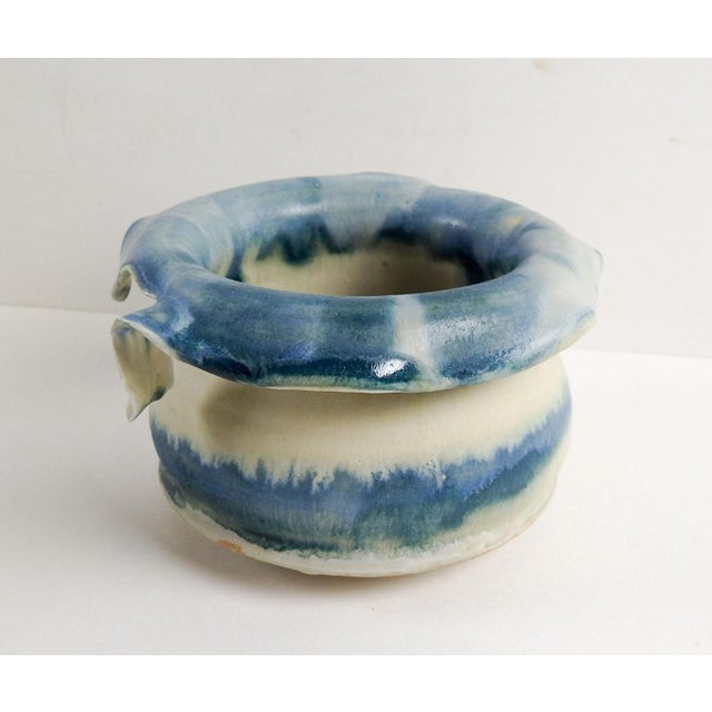 Studio Pottery Hand Thrown Teal & White Vase - Image 4 of 7
