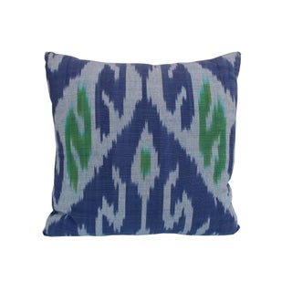 Blue and Green Ikat Pillow