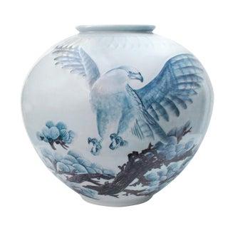Oversize Japanese Eagle Floor Vase