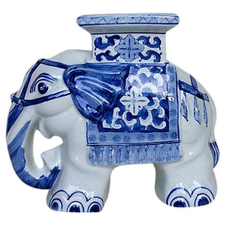 Petite Blue & White Elephant Garden Stool - Image 1 of 6