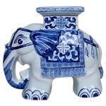 Image of Petite Blue & White Elephant Garden Stool