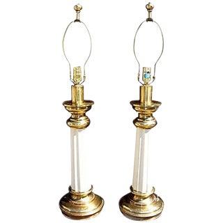 Mid-Century Regency Column Lamps - A Pair
