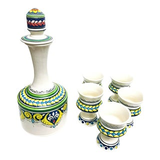 Moroccan Hand Painted Carafe & Cups - Set of 6