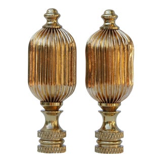 Ribbed Brass Finials - a Pair