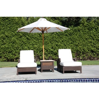 Century Denpasar Articulating Chaises - Pair With Side Table