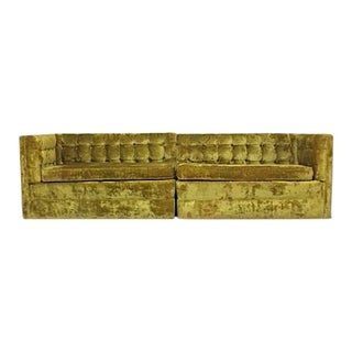 Mid-Century Crushed Gold Velvet Sectional