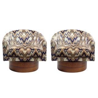 Milo Baughman Rosewood Swivel Base Lounge Chairs - a Pair
